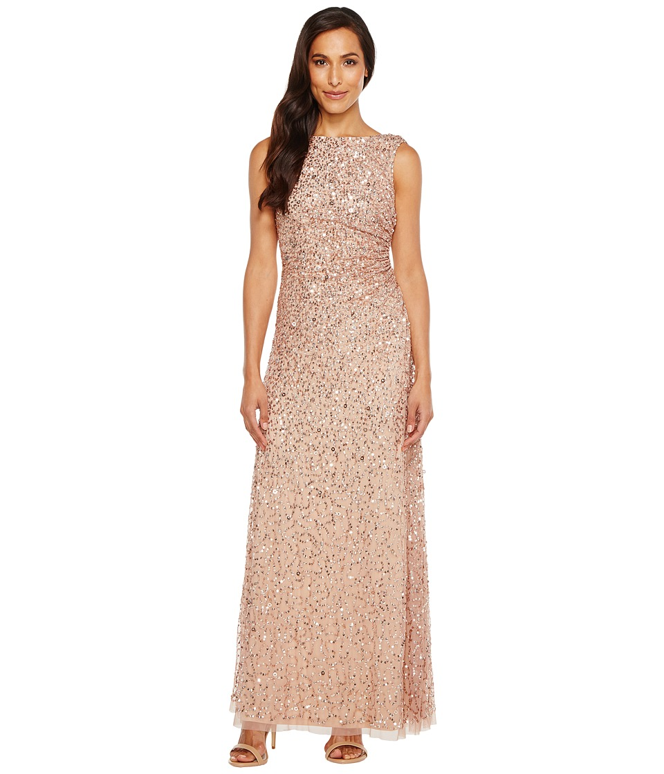 Adrianna Papell Cowl Drape Crunchy Bead Gown (Rose Gold) Women