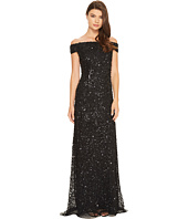 Adrianna Papell - Off the Shoulder Crunchy Bead Gown