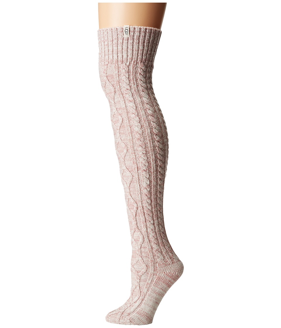 UGG - Cable Knit Socks (Dusk Heather) Womens Knee High Socks Shoes