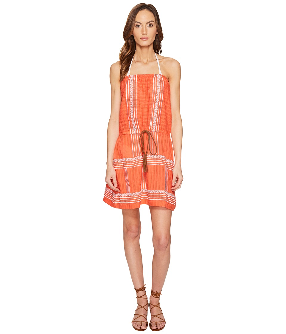 Letarte Strapless Embroidered Dress (Hot Coral) Women