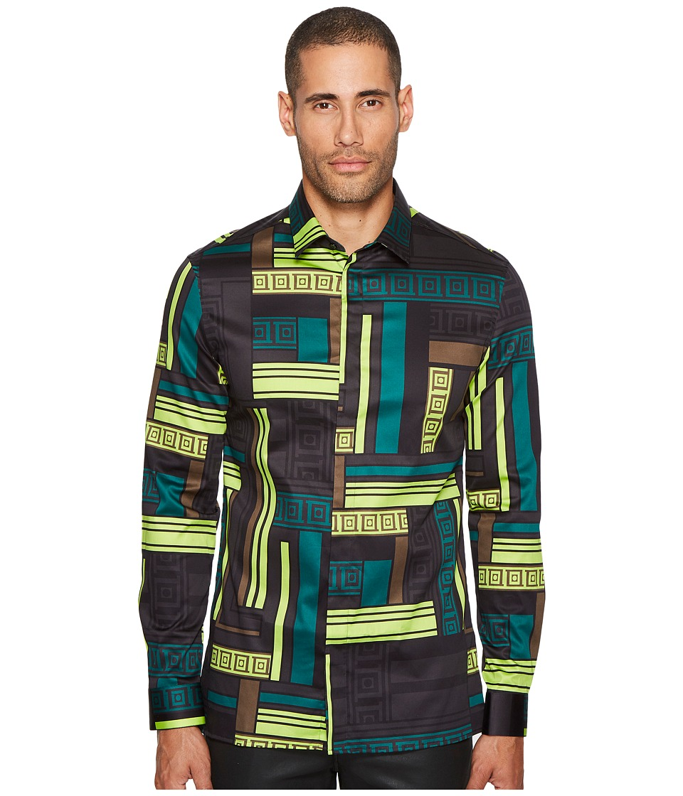 Versace Collection - Geometric Print Button Down (Green/Multi) Mens Clothing