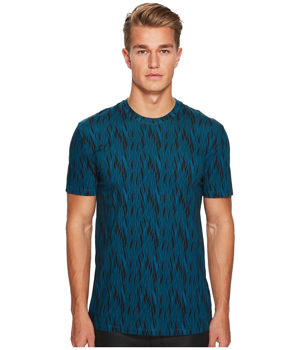Versace Collection Vertical Wave Print Tee (Peacock) Men