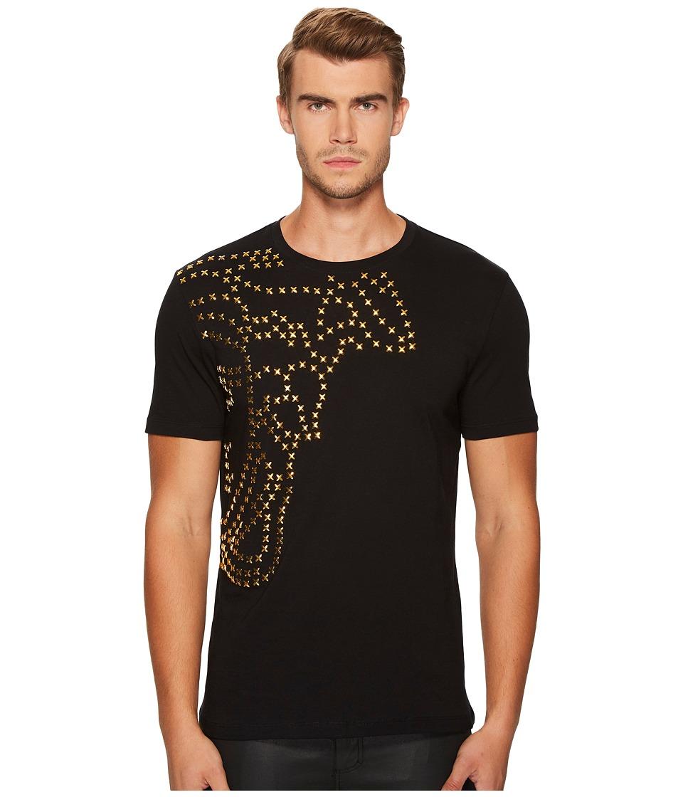 Versace Collection Metallic X Applique Medusa Tee (Black) Men