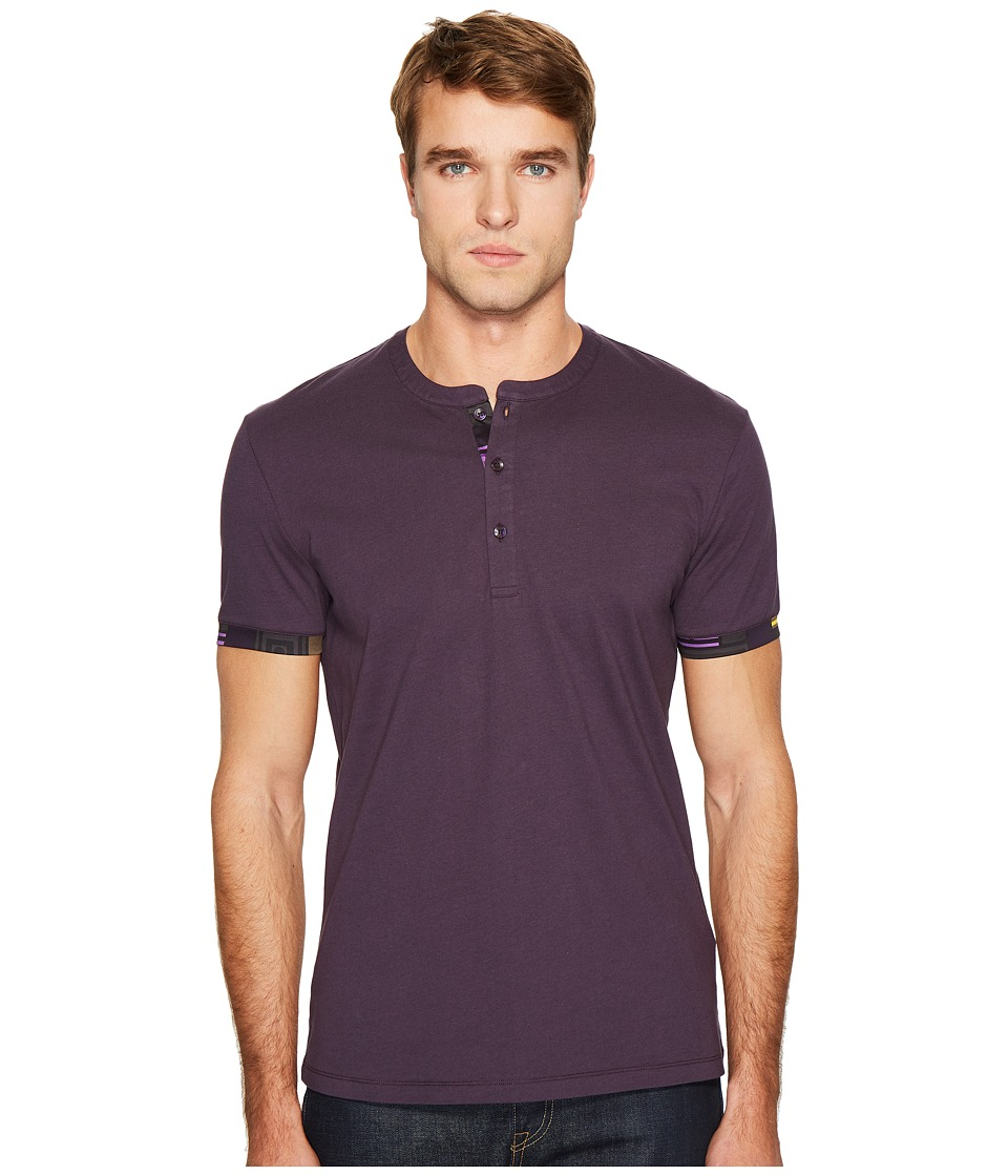 Versace Collection Short Sleeve Henley with Edge Detail (Black) Men