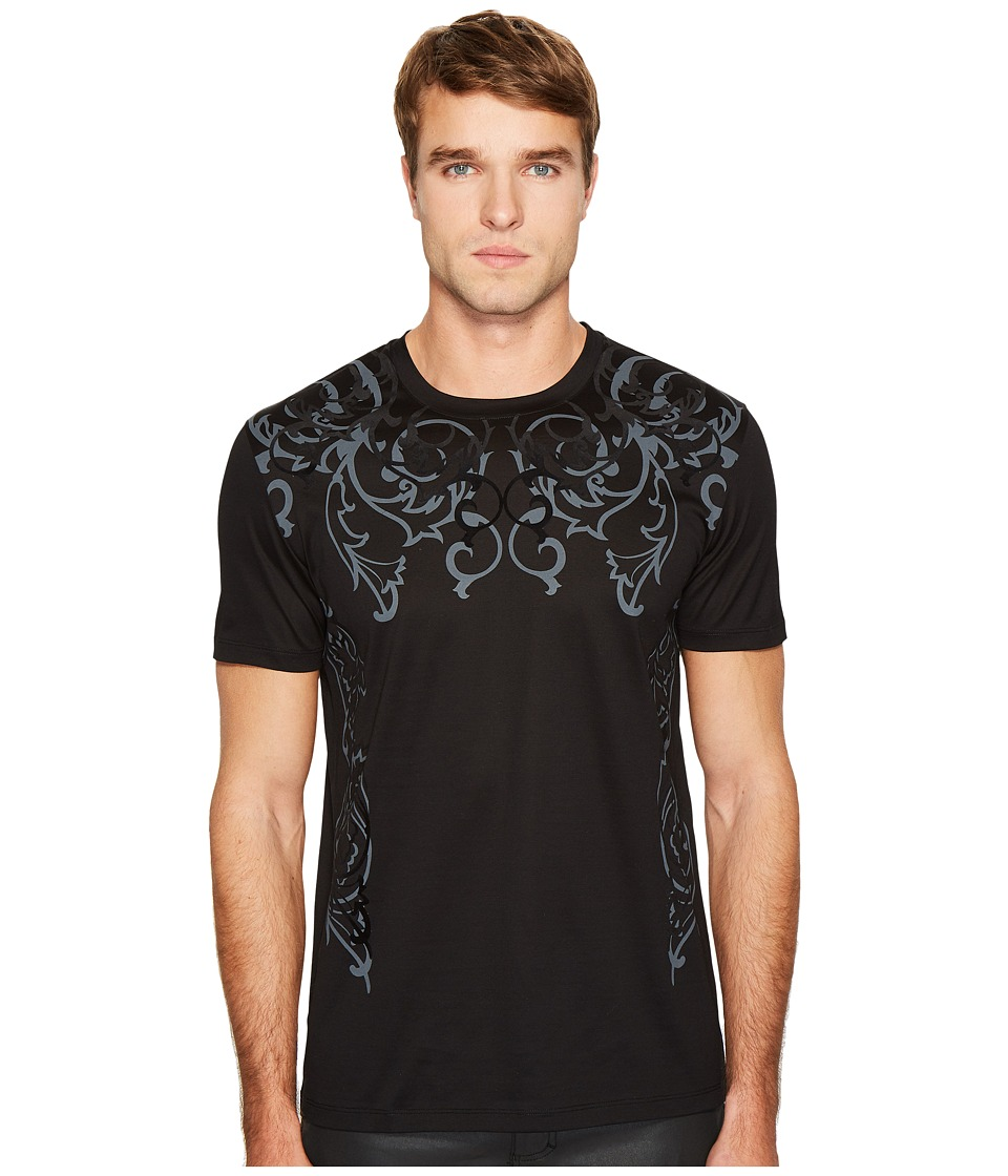 Versace Collection Baroque Detail T-Shirt (Black/Black) Men