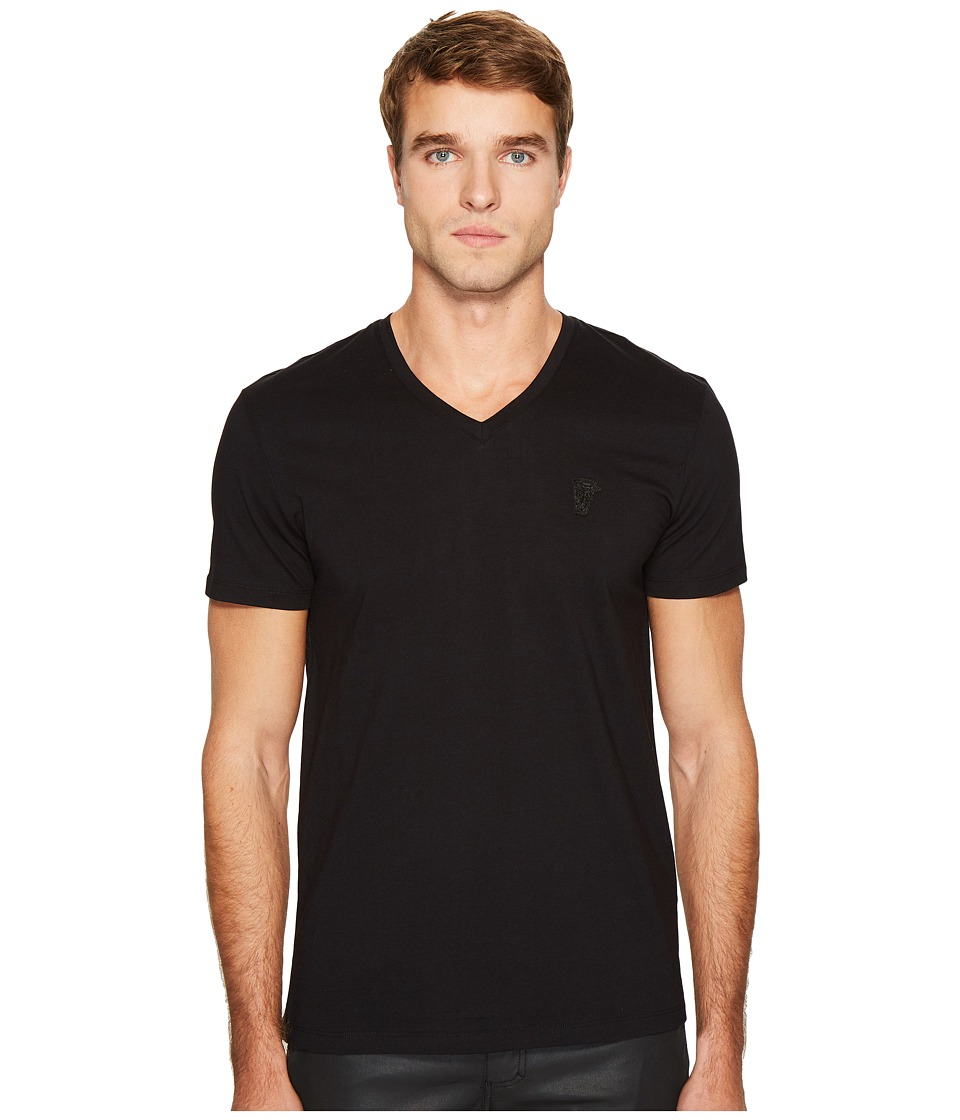 Versace Collection Logo V-Neck Tee (Black) Men