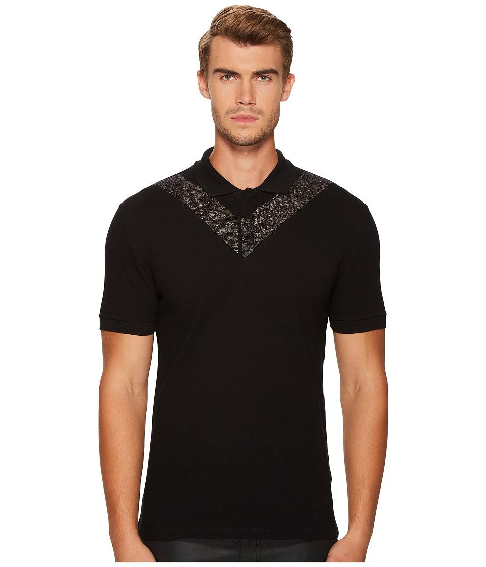 Versace Collection - Metallic V Polo (Black) Men's Clothing
