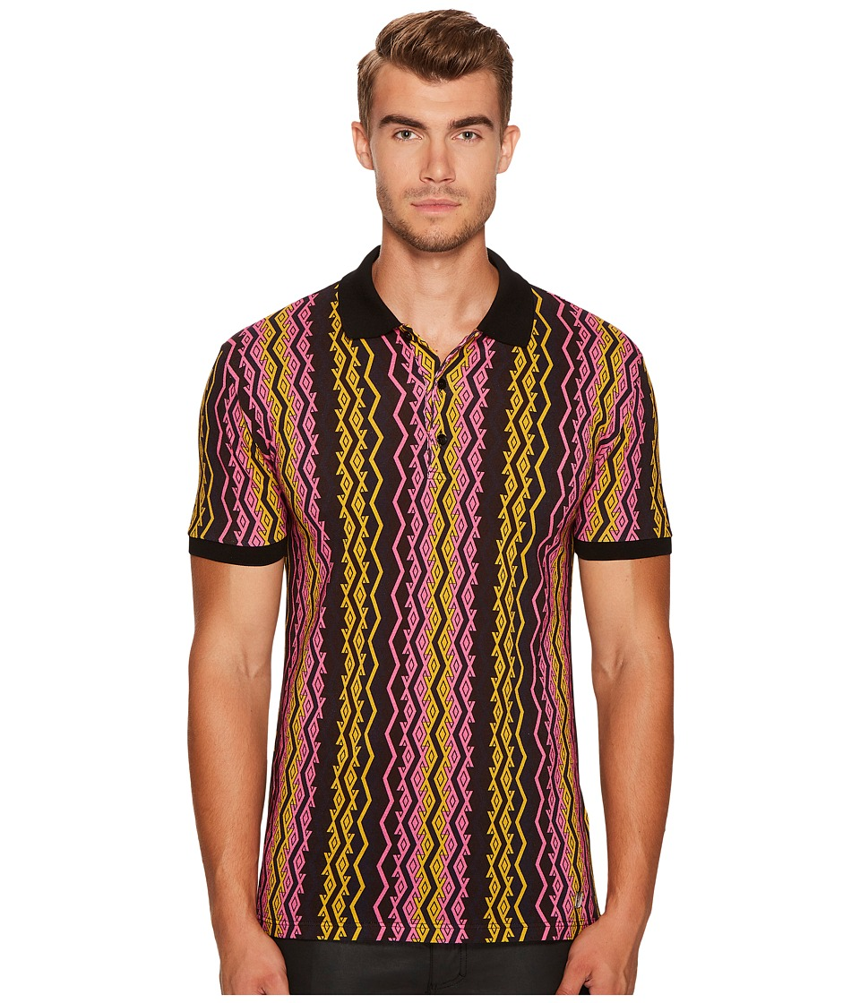 Versace Collection - Vertical Chain Print Polo (Pink/Blac...