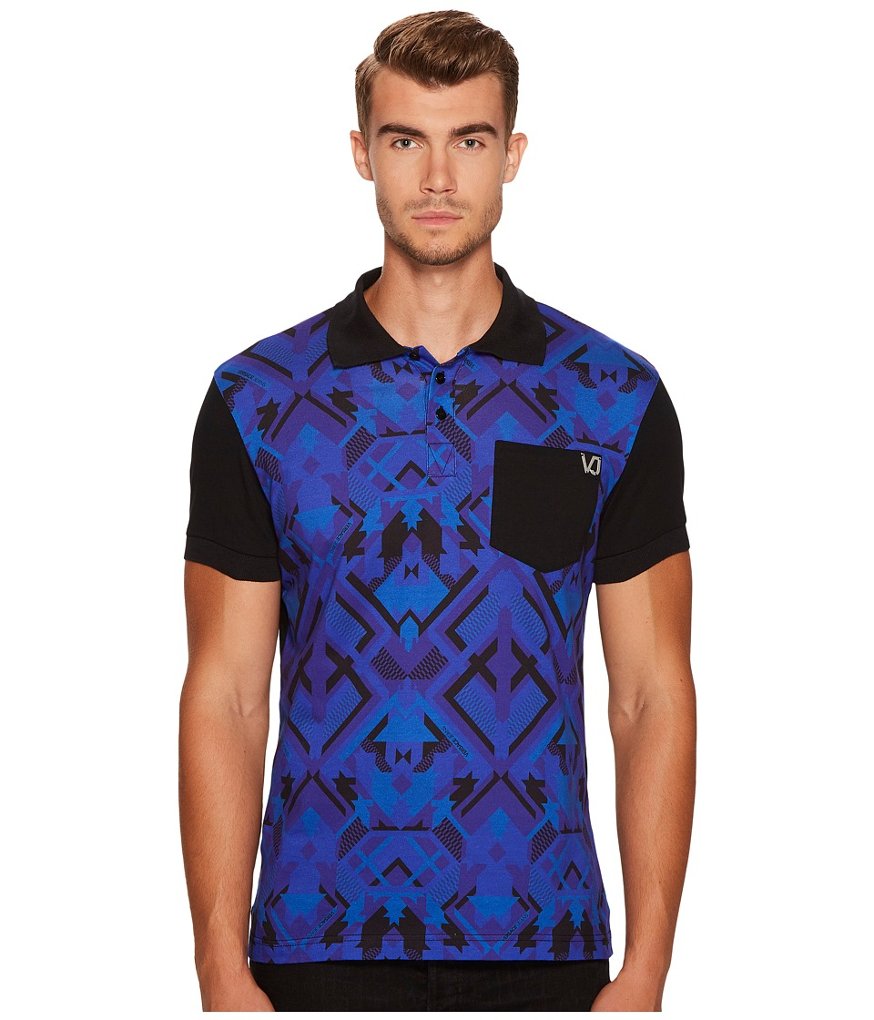 Versace Jeans - Printed Pocket Polo (Cobalt) Men's Clothing