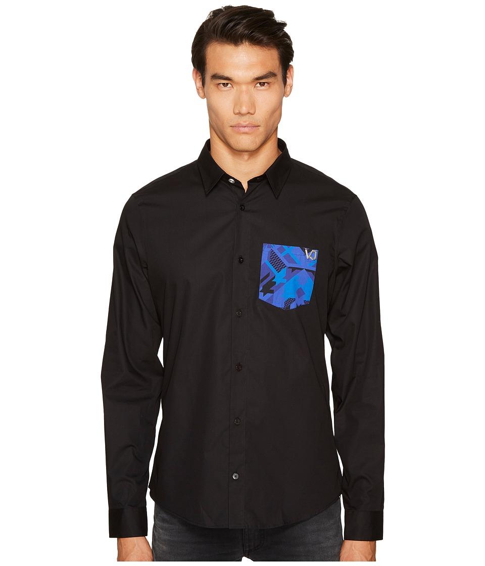 Versace Jeans Printed Pocket Button Down (Black) Men