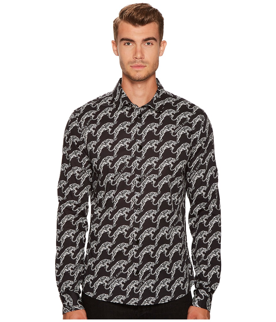 Versace Jeans Tiger Print Button Down (Black) Men