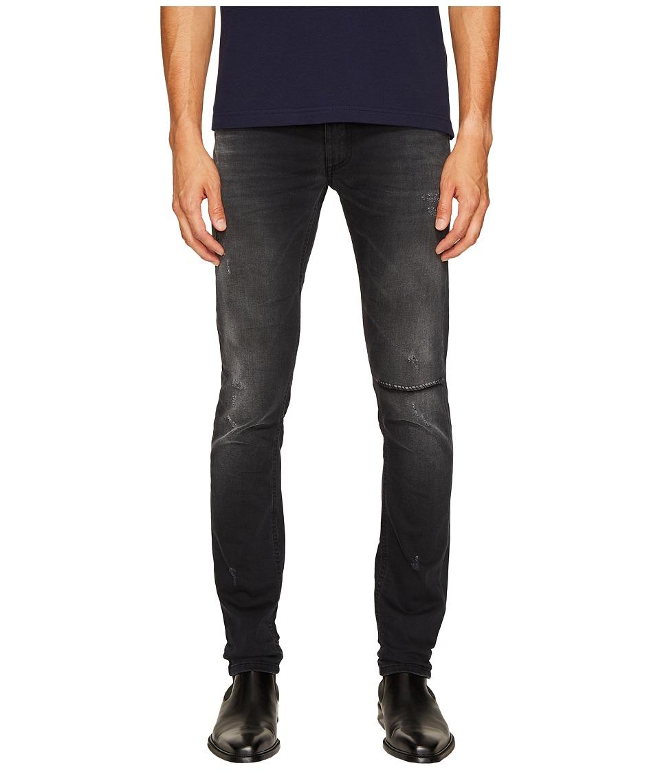 Versace Jeans Distressed Grey Slim Fit Jeans in Black (Black) Men