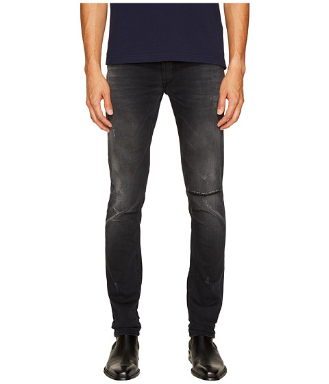 Versace Jeans Distressed Grey Slim Fit Jeans in Black