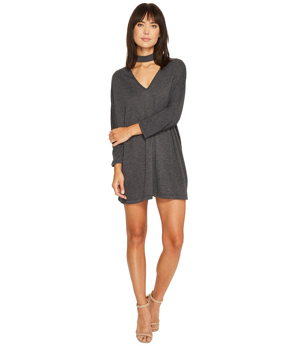 Culture Phit Jordanne Long Sleeve Choker Dress (Charcoal) Women