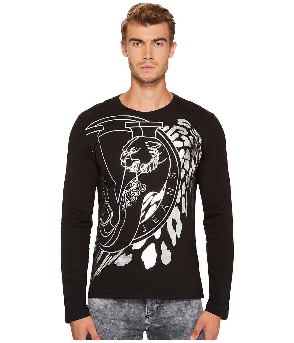 Versace Jeans Metallic Logo Long Sleeve Tee (Black) Men