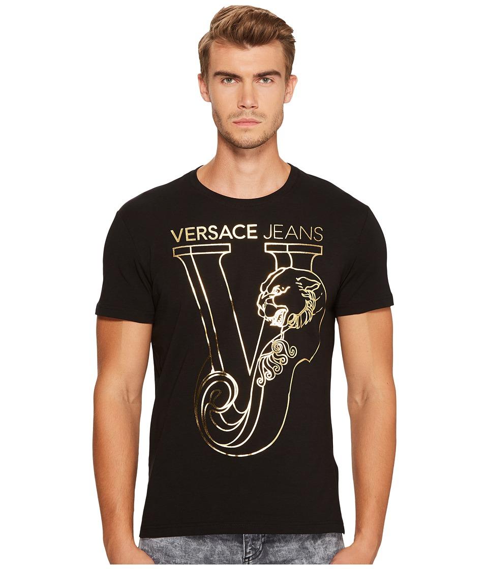 Versace Jeans Metallic Logo Short Sleeve Tee (Black/Gold) Men