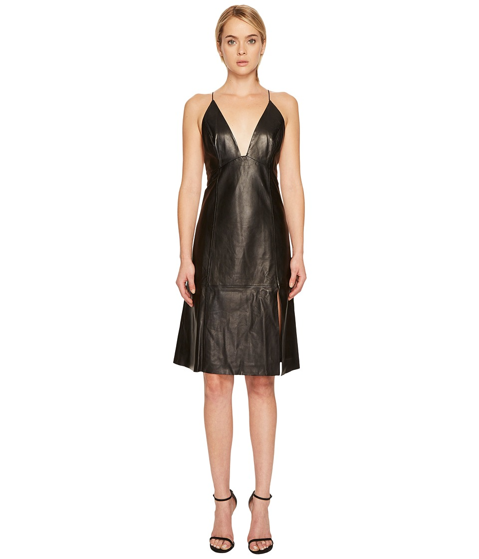 LAMARQUE - Oria Leather Midi Dress (Black) Womens Dress