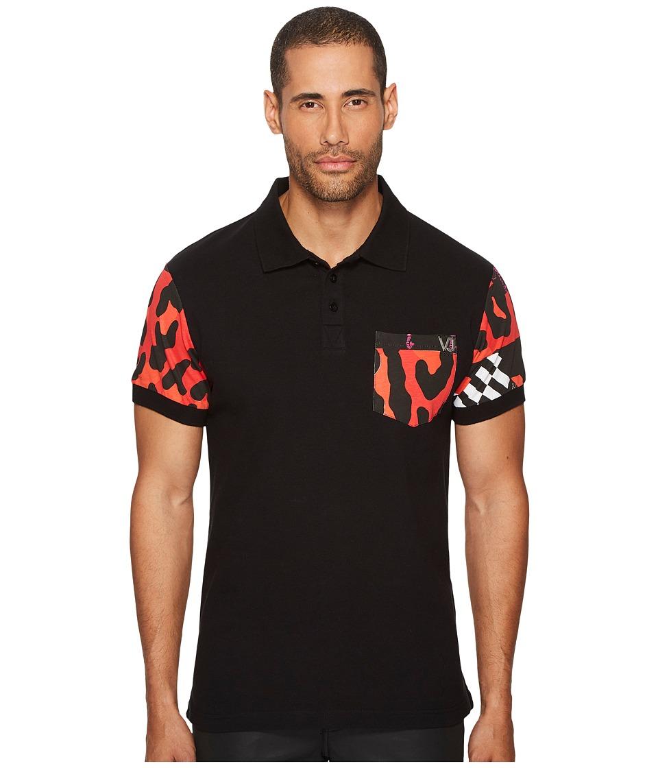 Versace Jeans Patterned Trim Polo (Black) Men