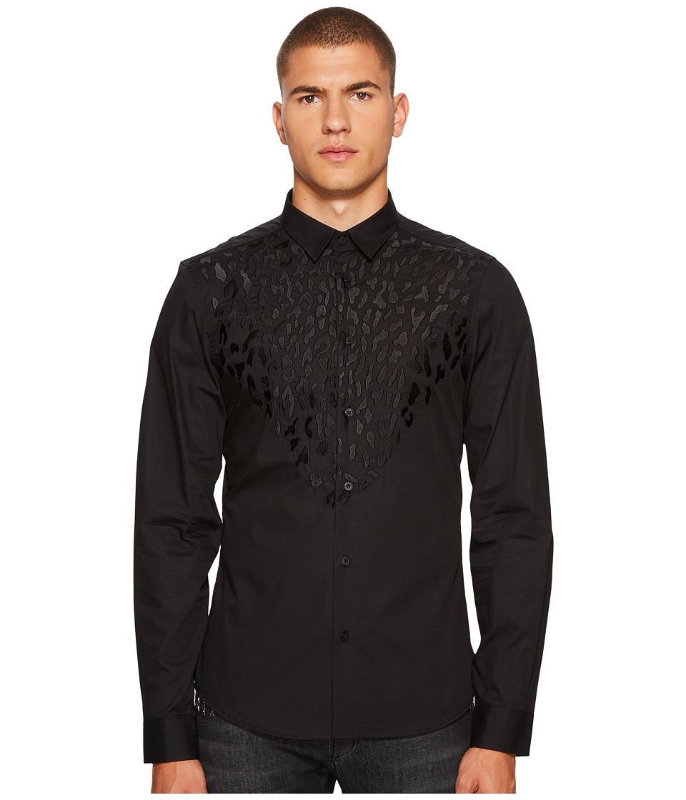 Versace Jeans Applique Button Down (Black) Men
