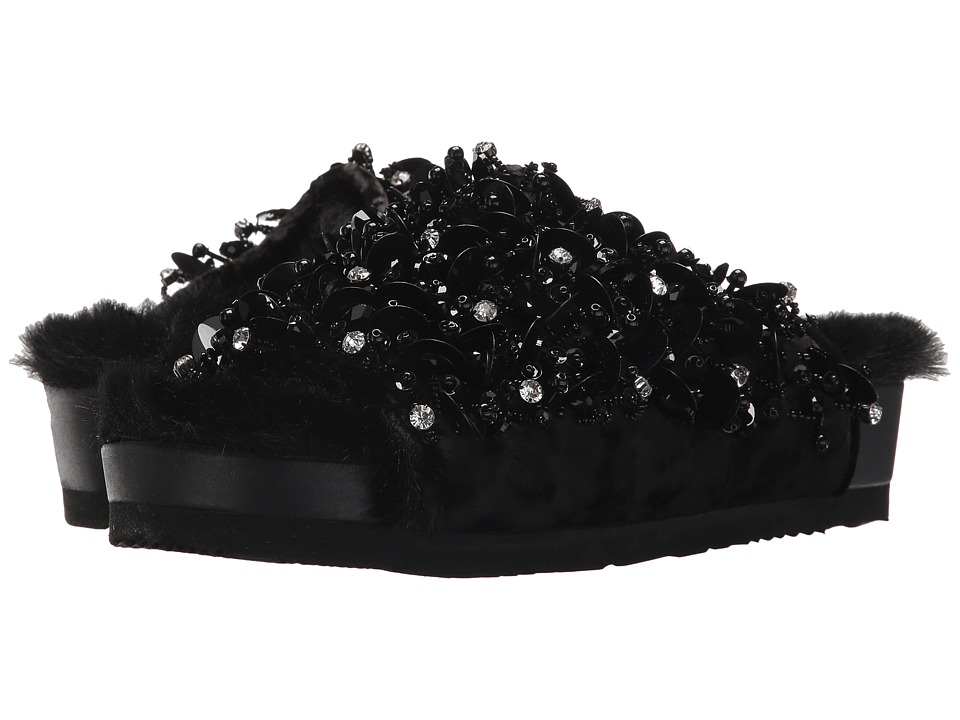 Suecomma Bonnie - Embellished Faux Fur Flat Sandals (Black) Womens Shoes