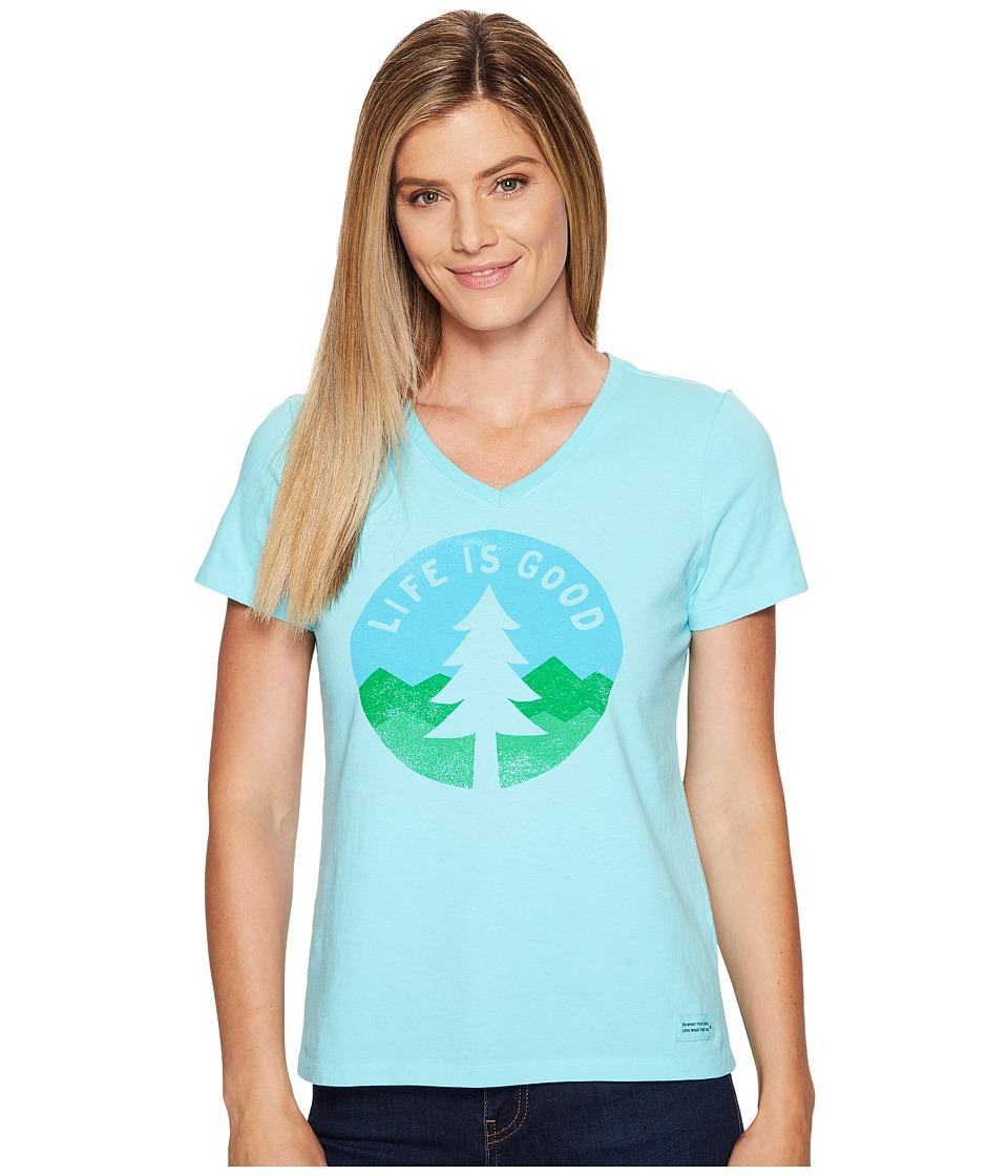 Life is Good Tree Silo Crusher Vee (Fresh Blue) Women