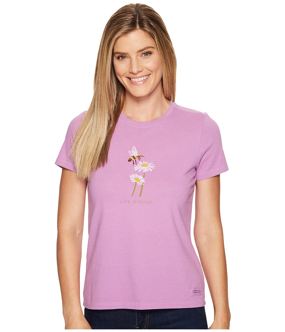 Life is Good Bumble Bee Daisy Crusher Tee (Dusty Orchid) Women
