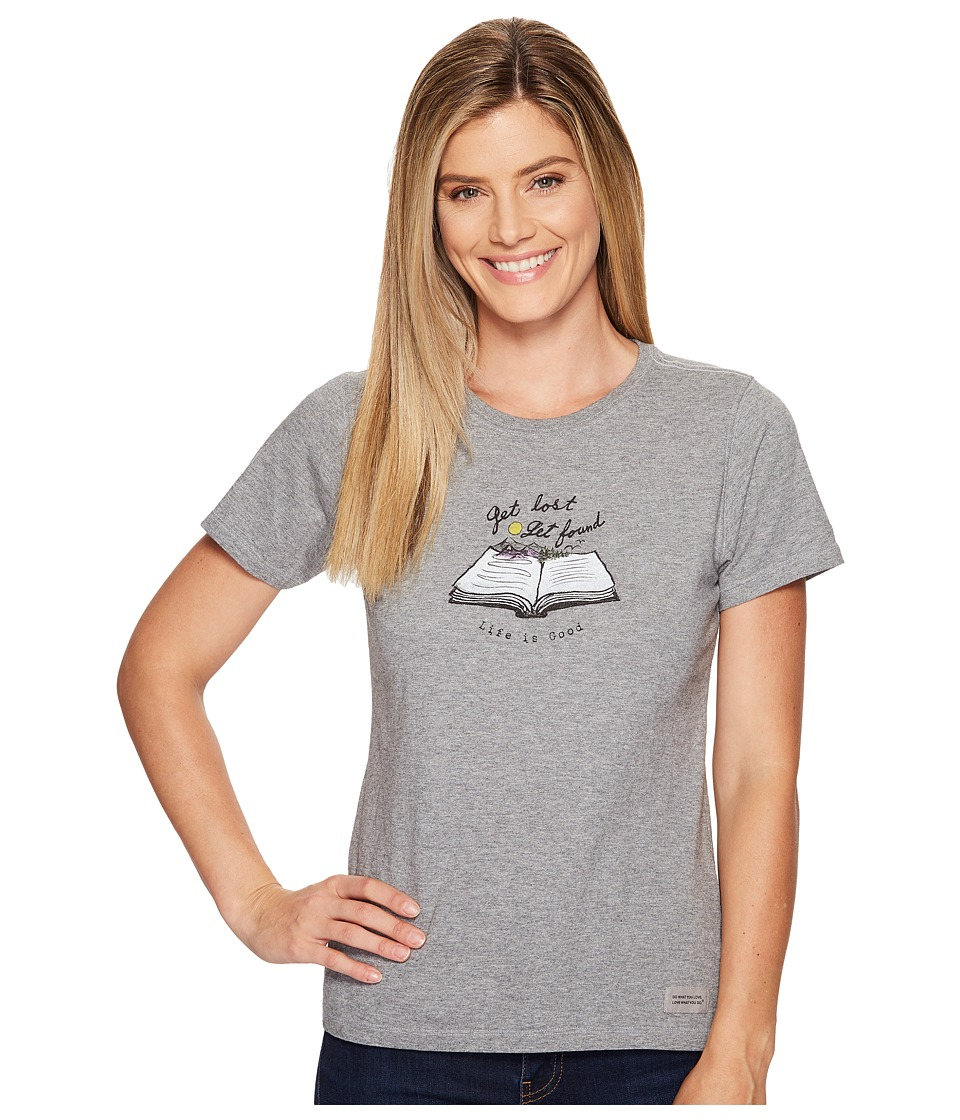 Life is good Get Lost Get Found Book Crusher Tee (Heather Gray) Women