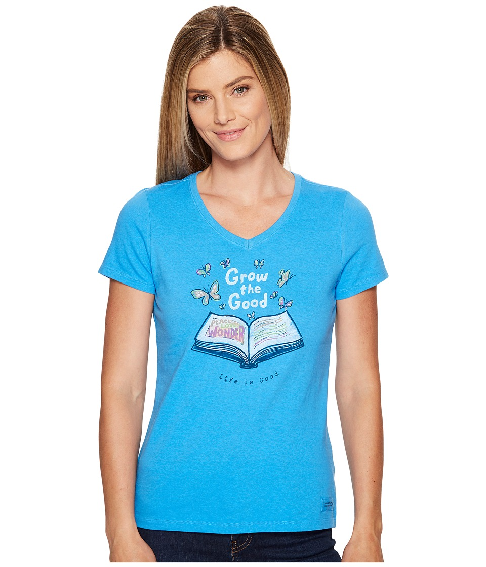 Life is Good Grow the Good Book Crusher Vee (Tile Blue) Women