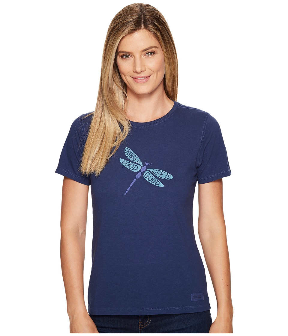 Life is good Change is Good Dragonfly Crusher Tee (Darkest Blue) Women