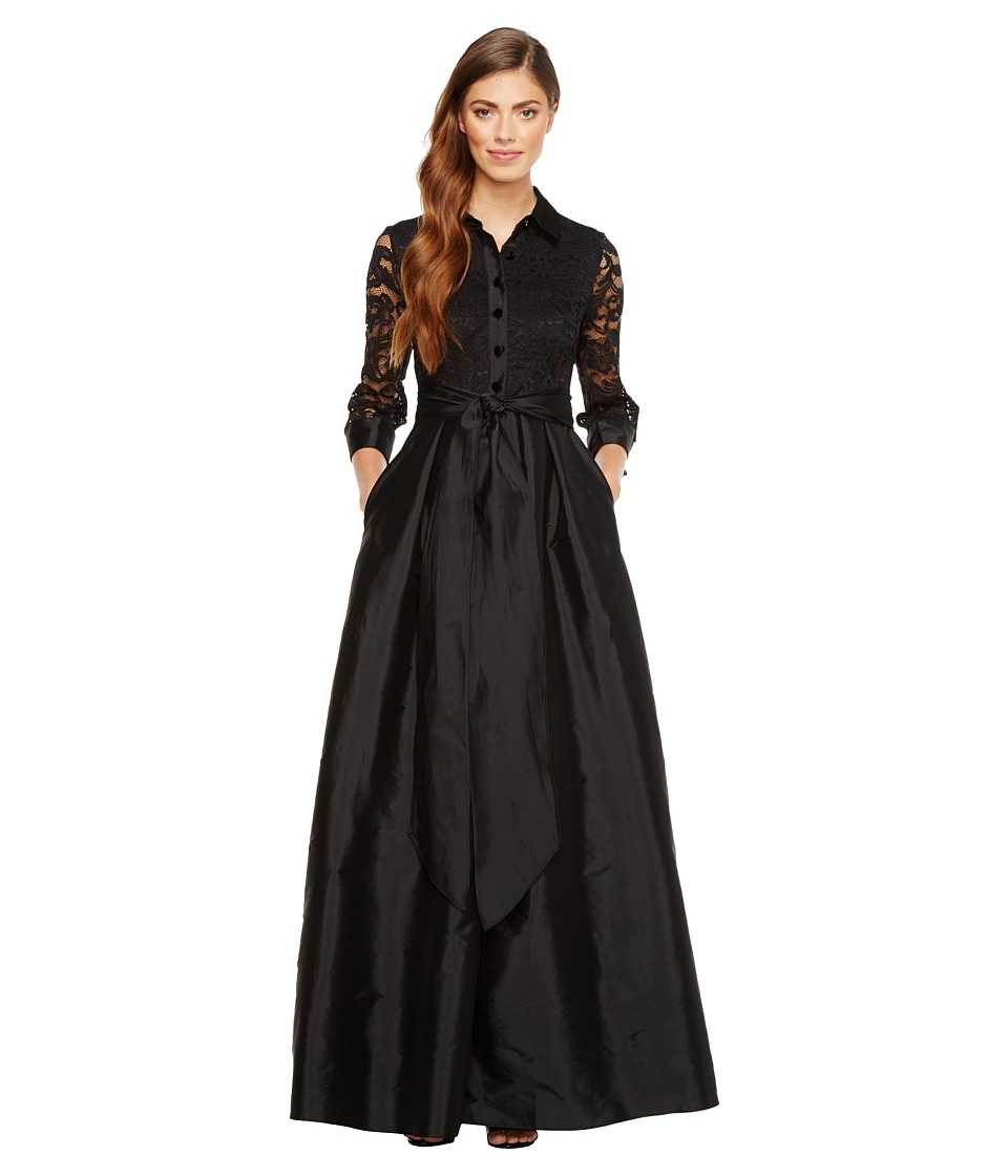 Adrianna Papell - Silky Taffeta and Lace Gown