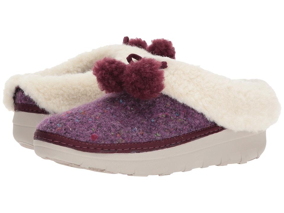 FitFlop Loaff Snug Pom Slippers (Deep Plum) Women