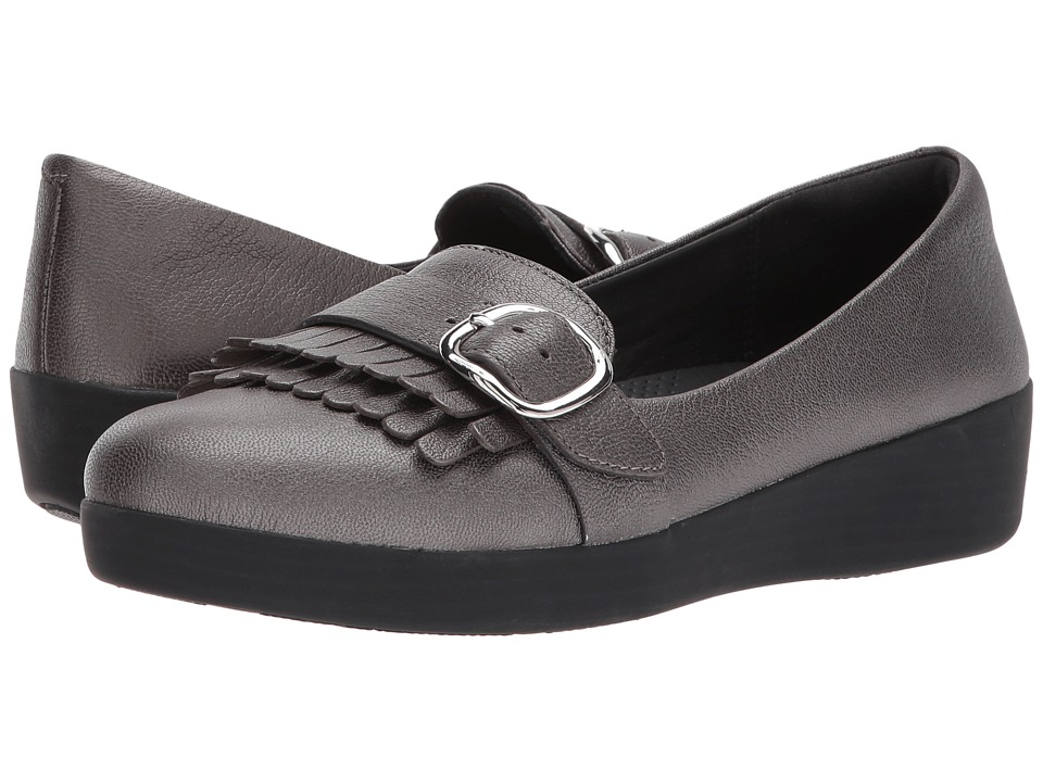 FitFlop - Adjustable Sneakerloafer (Pewter) Womens Shoes