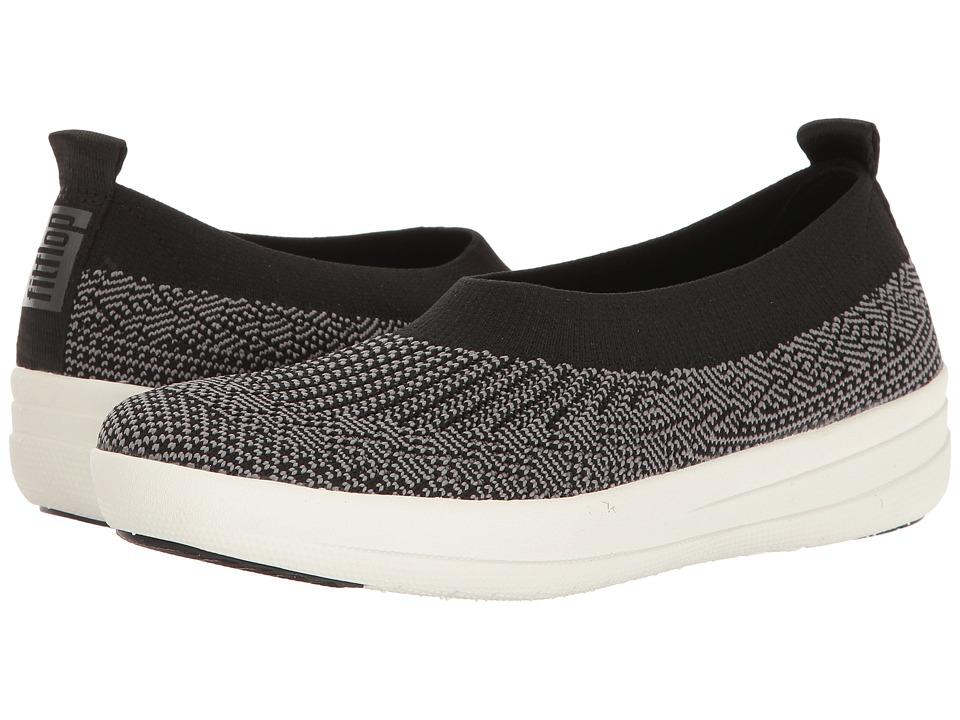 FitFlop Uberknit Slip-On Ballerina (Black/Charcoal) Slip-On Shoes