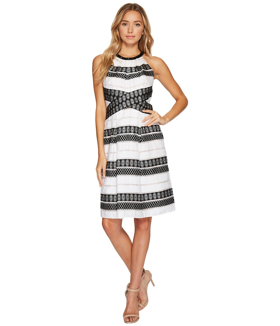 Adrianna Papell - Striped Burnout A-line Halter Dress