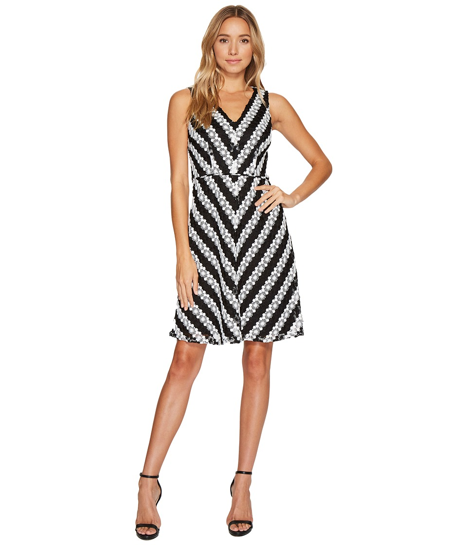 Adrianna Papell Adrianna Papell - Striped Fit and Flare Lace Dress