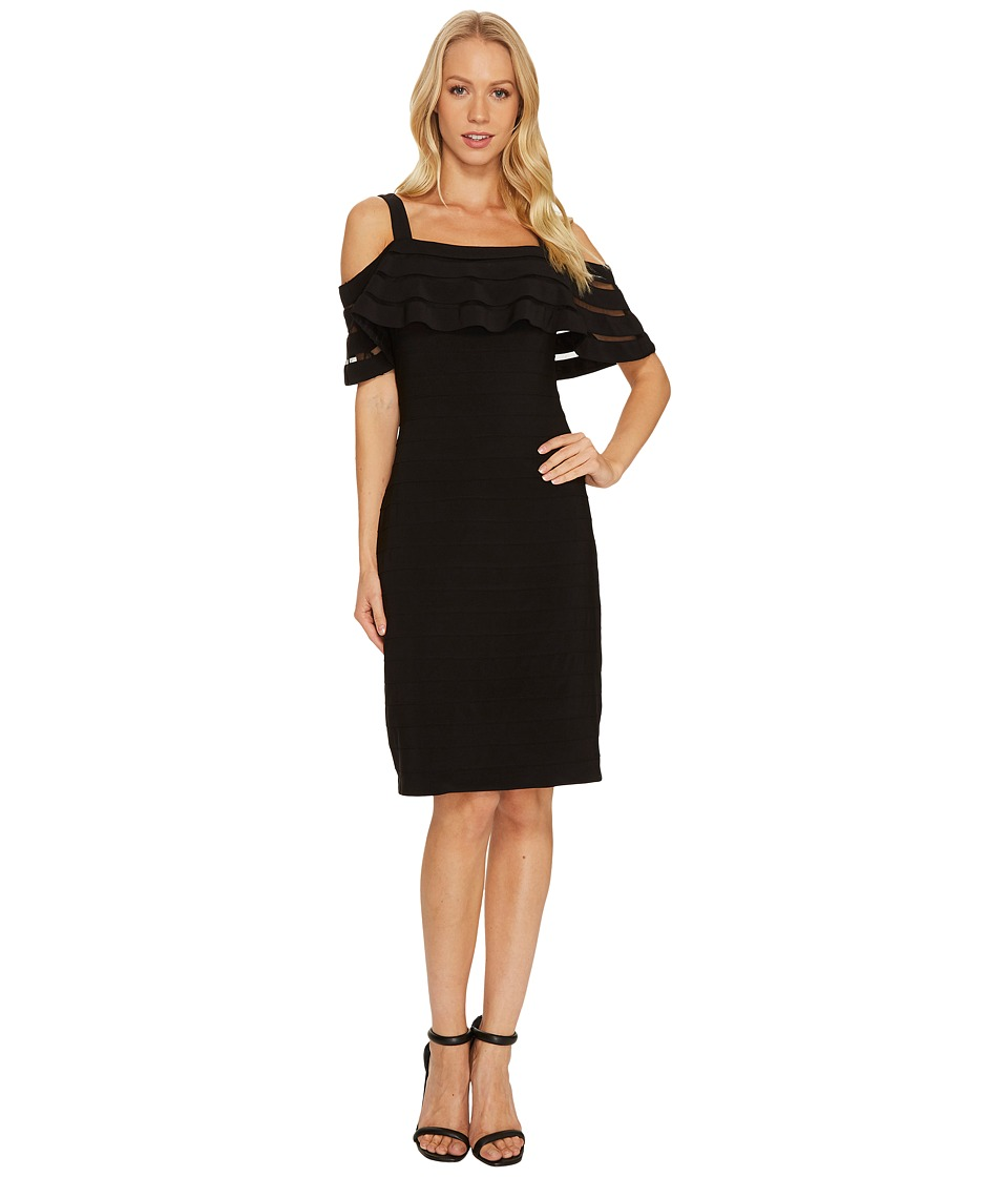 Adrianna Papell Banded Off Shoulder Sheath Dress (Black Multi) Women