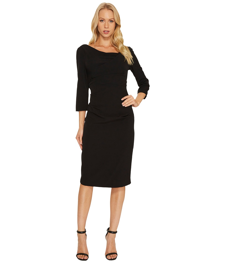 Adrianna Papell - 3/4 Sleeve Tucked Draped Dress