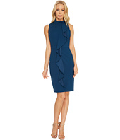 Adrianna Papell - Knit Crepe Mock Neck Sheath Dress