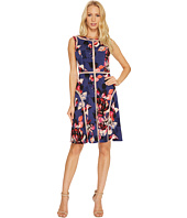 Adrianna Papell - Spliced Floral Print Jersey Dress