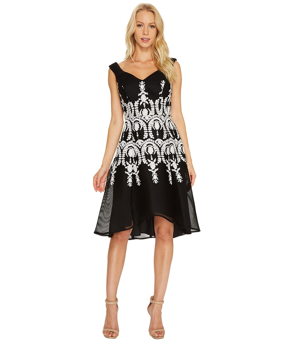 Adrianna Papell - Embroidered Neoprene Fit and Flare Dress (Black/Ivory) Womens Dress