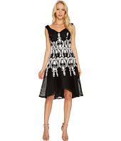 Adrianna Papell - Embroidered Neoprene Fit and Flare Dress