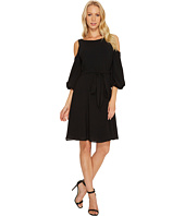 Adrianna Papell - Gauzy Crepe Cold Shoulder Dress
