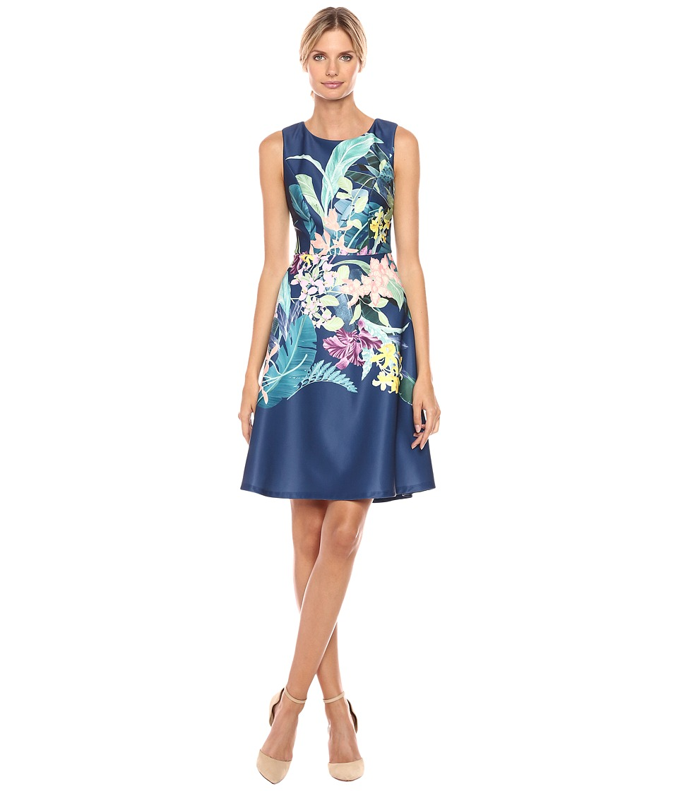 Adrianna Papell - Tropical Essence Printed Scuba Jewel Neck Fit and Flare Dress