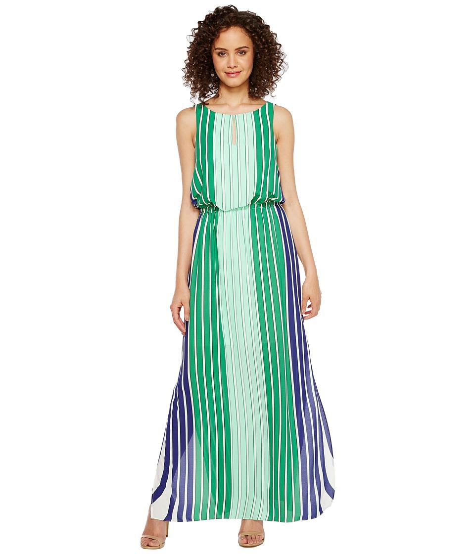 Adrianna Papell - Beta Stripe Printed Georgrette Blouson Keyhole Maxi Dress