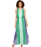 Adrianna Papell - Beta Stripe Printed Georgrette Blouson Keyhole Maxi Dress