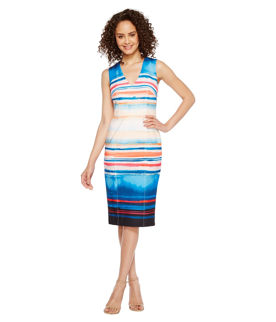 Adrianna Papell - Washed Watercolor Stripe V-Neck Sheath Dress (Black Multi) Womens Dress