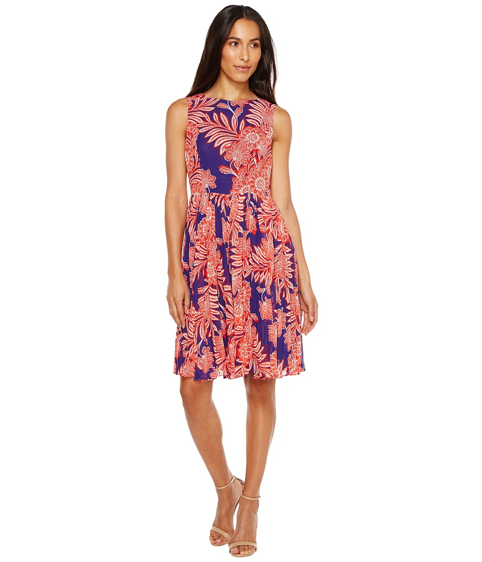 Adrianna Papell Adrianna Papell - Paisley Bandana Printed Chiffon Pleated Fit and Flare Dress