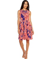 Adrianna Papell - Paisley Bandana Printed Chiffon Pleated Fit and Flare Dress