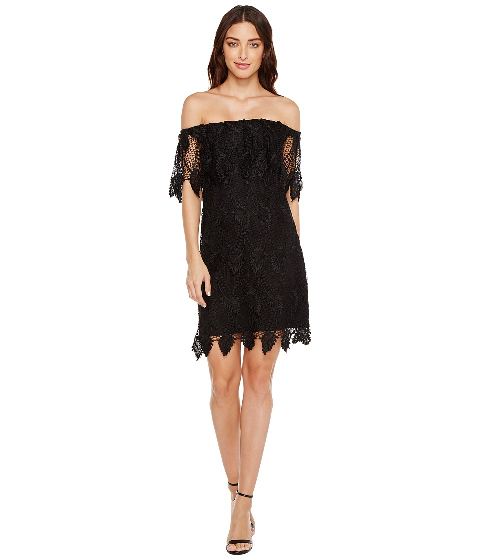 Adrianna Papell - Victoriana Palm Lace Off the Shoulder Shift Dress