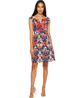 Adrianna Papell - Printed Linenette Mirrored Dreams Fit and Flare Dress with Embroidery